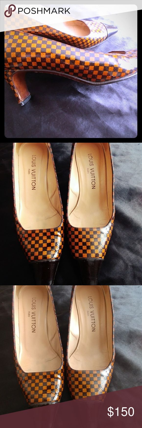 💞Authenic Louis Vuitton Damier pumps💞 Beautiful Authenic Louis Vuitton Damier pattern pumps. The heel is 2 inchs. Womens size 6. The bottoms have obvious signs of use which is great because no ones sees!! Thanks for looking! Take advantage of the great price on namebrand items!! Louis Vuitton Shoes Heels