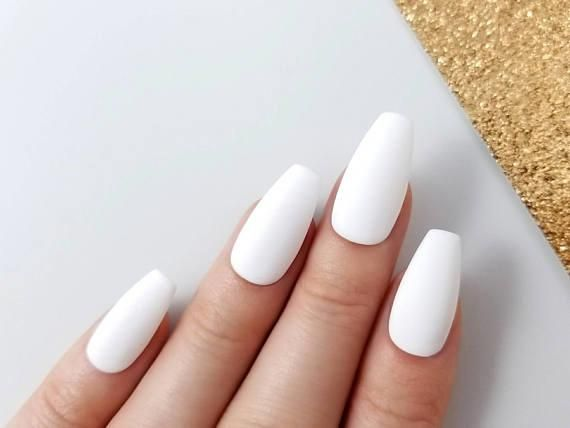 Matte White Press On Nails Reusable Manicure Any Shape Coffin Stiletto Almond Oval Round Coffin Shape Nails Types Of Nails Shapes Coffin Nails Designs