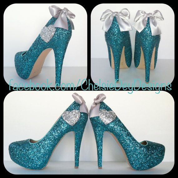 These Glitter High Heels are MADE TO ORDER.   If you would like to change the color of the heart or bow please leave your request in the comment box. The hearts could also be substituted with a star.  These heels are very true to size. Take a look at the size chart in the second picture If yo...