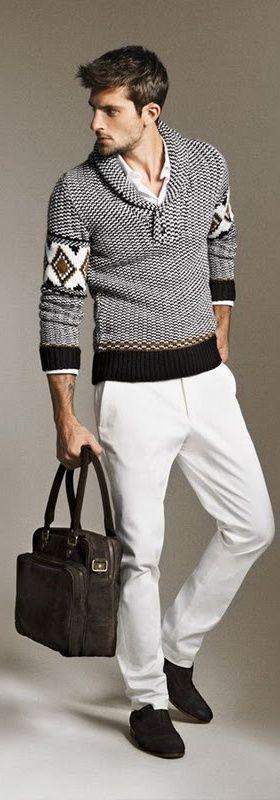 White Pant Sweater Combination - Men's Fashion Blog - TheUnstitchd.com