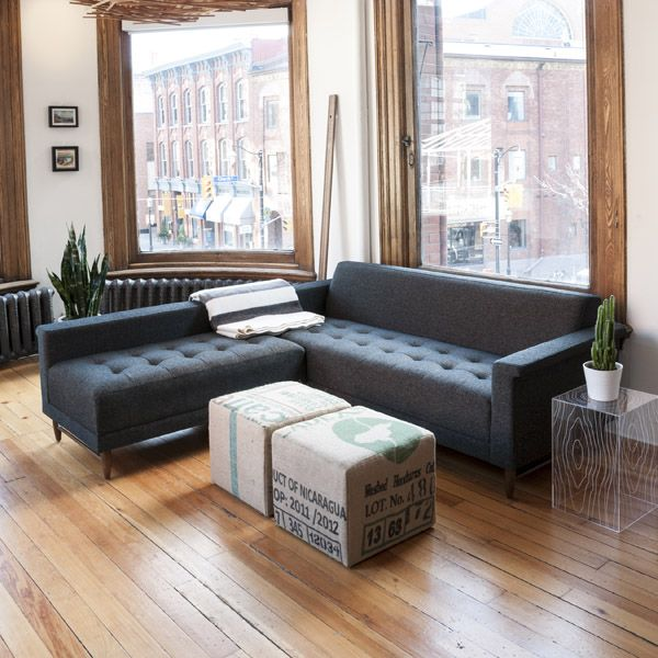 modern loft furniture. gus modern harbord loft bisectional with upcycle ottomans and timber table http furniture