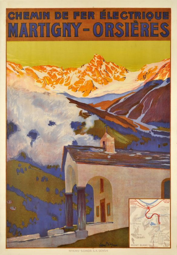 "Martigny - Orsières, Chemin de Fer électrique by Bille Edmond / 1920. Beautiful Edmond Bille poster for the Martigny - Orsières electric railway company, showing the historical ""Notre Dame des neiges"" Chapel in Ferret, near Verbier in the Canton of Wallis. The pic is the ""Massif du Tour noir"" with the ""Glacier de l' A Neuve"". A beautiful Swiss Alps poster by this famous painter, finely printed in stone-lithography"