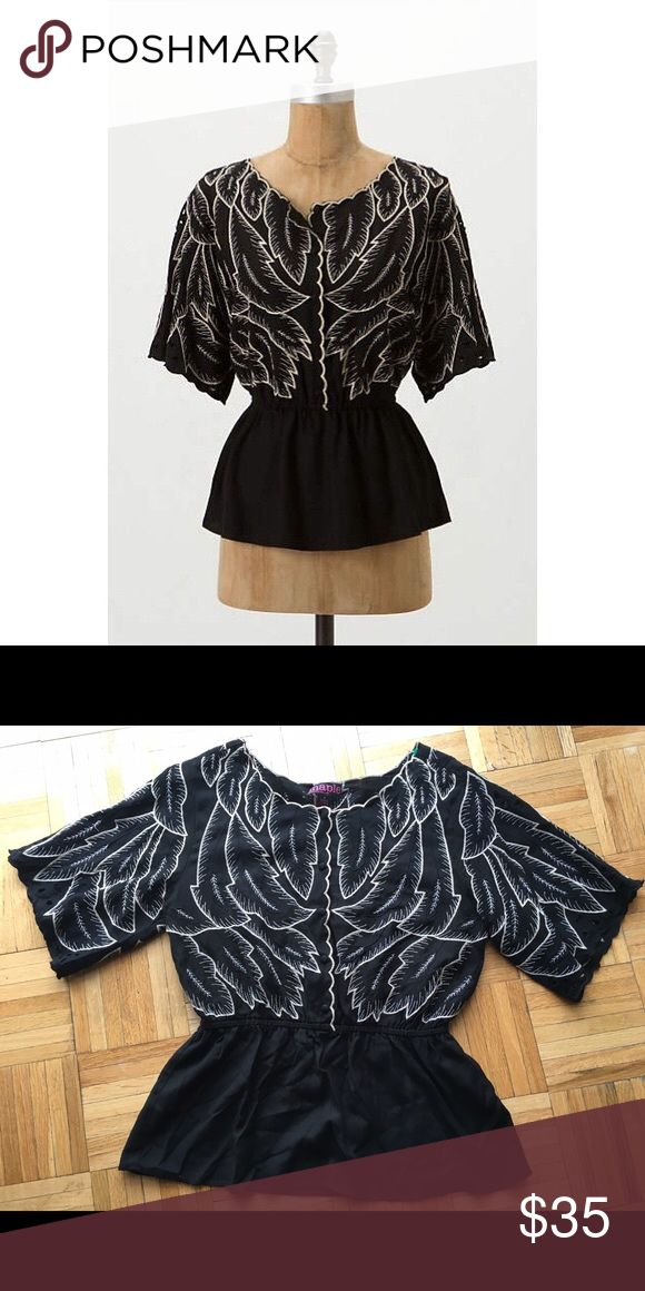 Anthropologie Maple Black Peplum Top Shirt 8 M This is a beautiful Anthropologie top in size 8 Anthropologie Tops