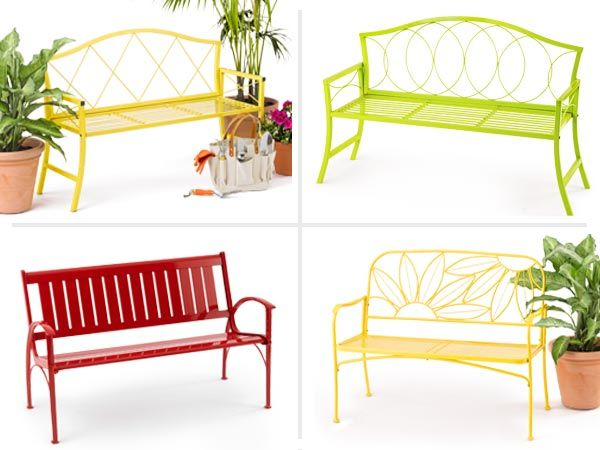 Add a pop of color in the garden with an metal garden bench: Sturdy all-weather materials and a punchy palette make for standout seating