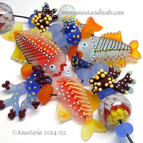 "ANASTASIA--lampwork beads--(11)--""CARIBBEAN""--SRA #Lampwork eBay <3<3<3AWESOME BEAD SET<3<3<3"
