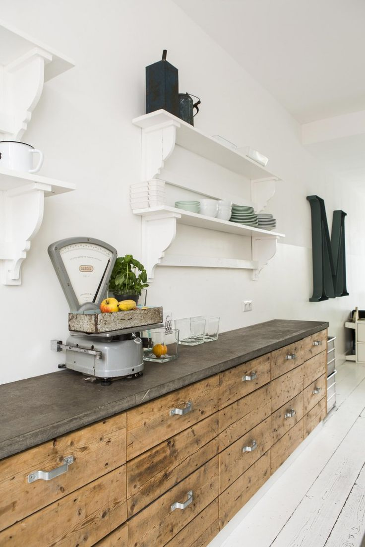 Wood with dark work surface and white open shelving