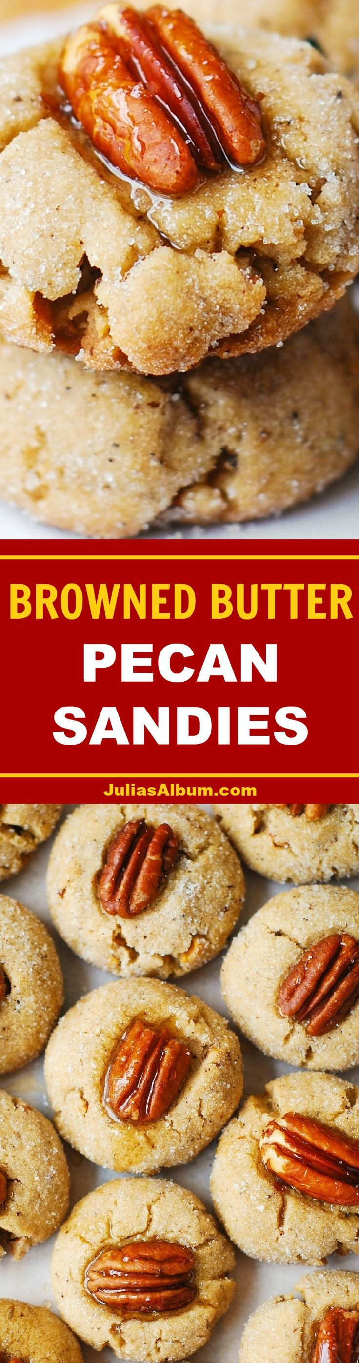 Browned Butter Pecan Sandies - perfect cookies for Thanksgiving and the holiday season! #Fall holiday baking