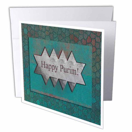 3dRose Happy Purim, Stars of David, Greeting Cards, 6 x 6 inches, set of 12