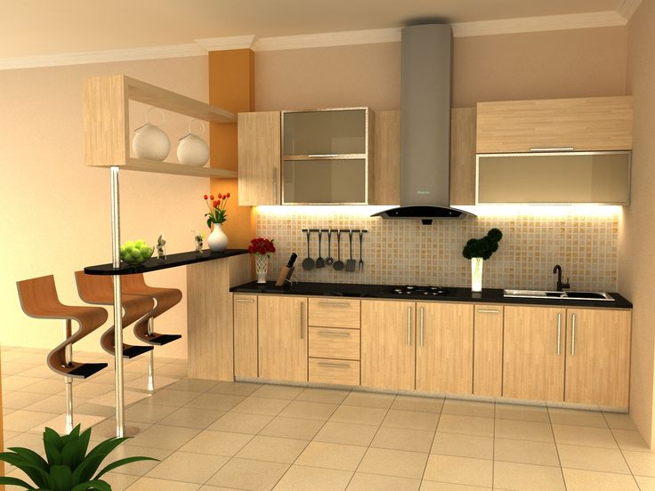 kitchen & bar station, minimalist style lightwood motive