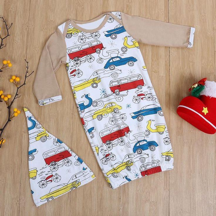 2 шт. милый ребенок спальный мешок сна мешок + шляпа, наряды для новорожденных Для маленьких мальчиков Обувь для девочек мультфильм автомобиль мир печати пижамы купить на AliExpress