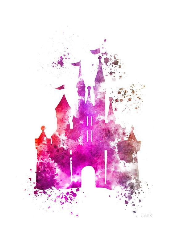 For sale direct from the artist Original Art Print of Cinderella Castle illustration created with Mixed Media and a Contemporary Design Size