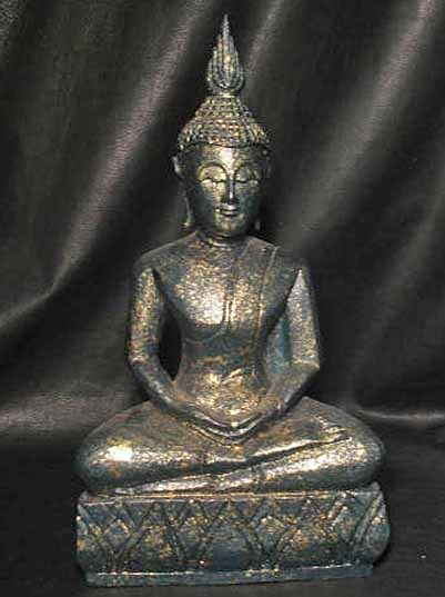 "17 1/2"" Hand Made Teal Gold Monkey Pod Wood Samadhi Sukhothai DhyAna Mudra Thai Buddha"