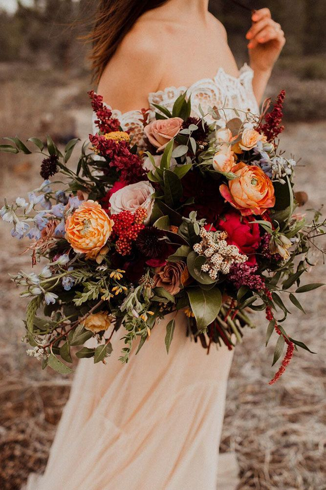 Quality Artificial Autumn Colours Poppies and Meadow Flowers Tie Bouquet Wedding