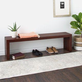 Walnut Finish 60-inch Slat Bench