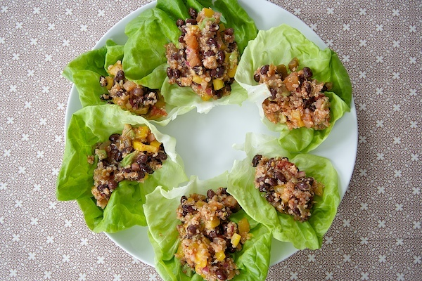 "Quinoa and Black Bean Lettuce Wraps - From the terrific blog ""Keep ..."