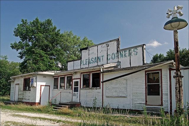 """Pleasant Corners"" [General Store on Illinois Highway"