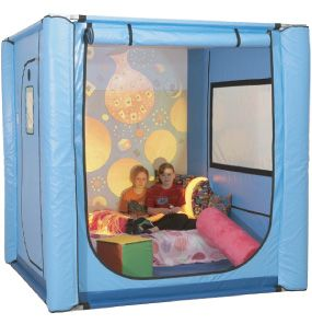 Safe sleep, sensory and calming time for a wide range of children and adults with needs: autism, mental illness, dementia, etc. Custom fit by safespaces in the U.K. per person.  Enables individuals with significant need to live at home, and for them and their caregivers to get a full night sleep. Sensory can be inside or outside. Windows, bedding, accessories keep it safe and non-institutional (though used in schools and hospitals too.)