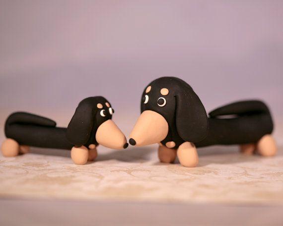 Dachshund salchicha perro pastel Topper padres y bebé