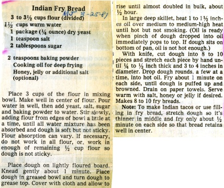 Indian Fry Bread Recipe- from the Milwaukee Public Library's Digital Historic Recipe File