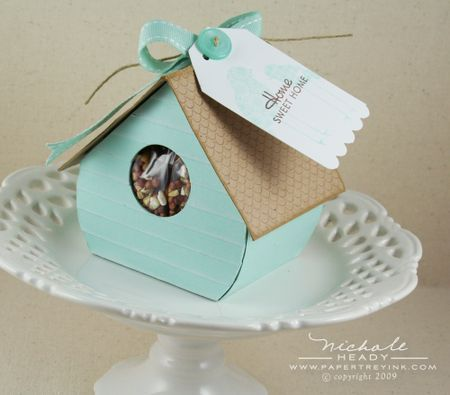 Birdhouse tutorial...for easter treats...paper nest and chocolate robin eggs...