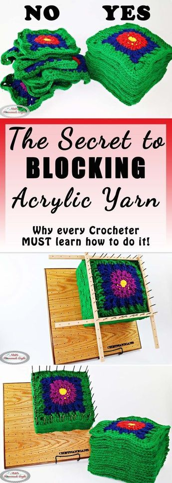 Blocking Acrylic Yarn using a Steamer and a Blocking Board cheryl petursson