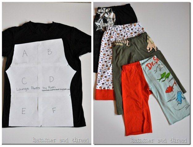 Un T-Shirt XL peut être transformé en pantalon taille enfant.   28 objets du quotidien à transformer pour vos enfants