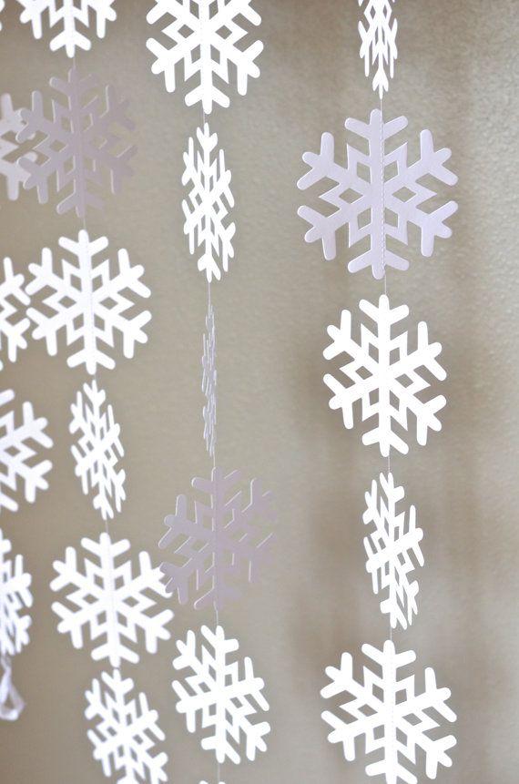 Frozen Snowflake Garland - extra large frozen snowflake banner, 10 or 20 feet long