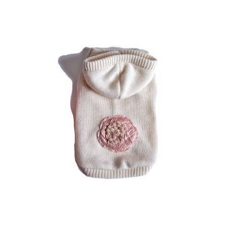 Baby Rose #dog hoodie - white wool and cachemire by Babydog Botique |Maglione bianco per cagnoline in cachemire e lana merino #Chic4Dog