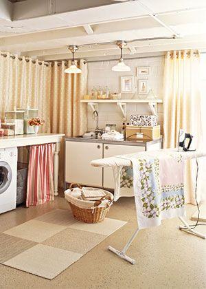 unfinished basement laundry idea