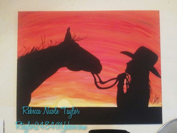 """""""Girl's first love"""" Cowgirl and horse acrylic paint silhouette on canvas. To purchase, contact at rtaylor2484@Yahoo.com. Country girl, southern Belle, hand painted."""