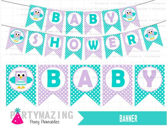 Owl Baby Shower Banner DIY Printable Party Turquoise Lavender DIY Printable Banner party Decor Sign Instant Download -D428 by Partymazing