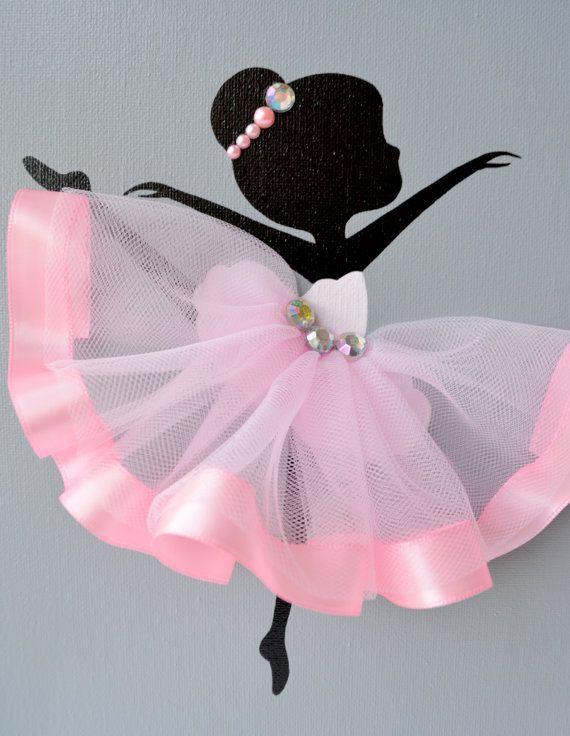 Ballerina nursery wall art. Pink and grey ballerina by FlorasShop