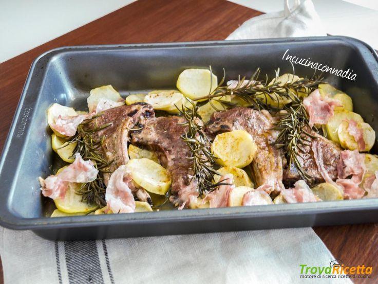 Costolette di agnello con patate e pancetta al forno  #ricette #food #recipes