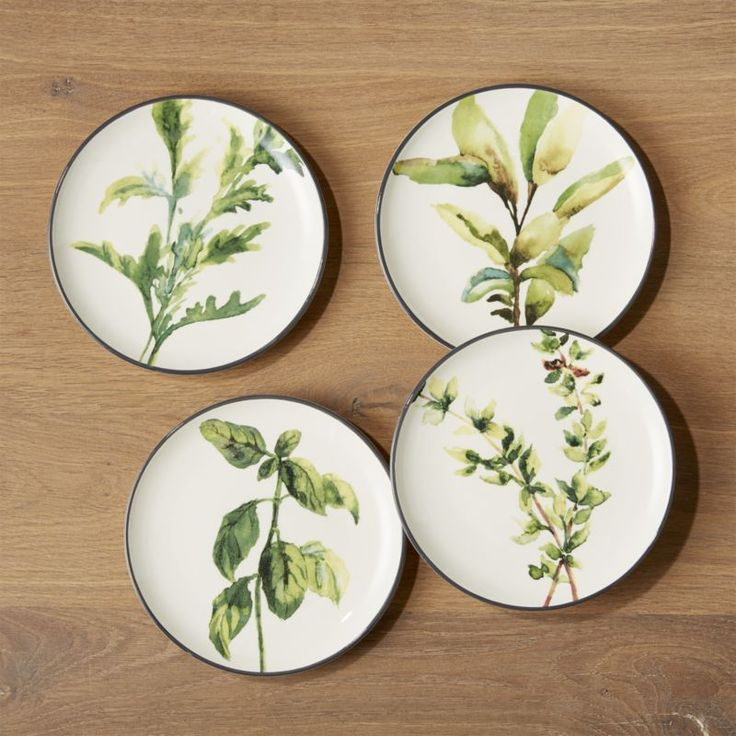 Shop Herb Plates, Set of 4. Leafy watercolor herbs grace the creamy interior of these gorgeous plates. Dark exterior provides contrast.