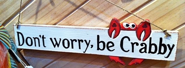 Father's day gift idea - Man cave sign- Don t worry be Crabby - Home & garden Beach house crab, wooden wall sign w/ rope