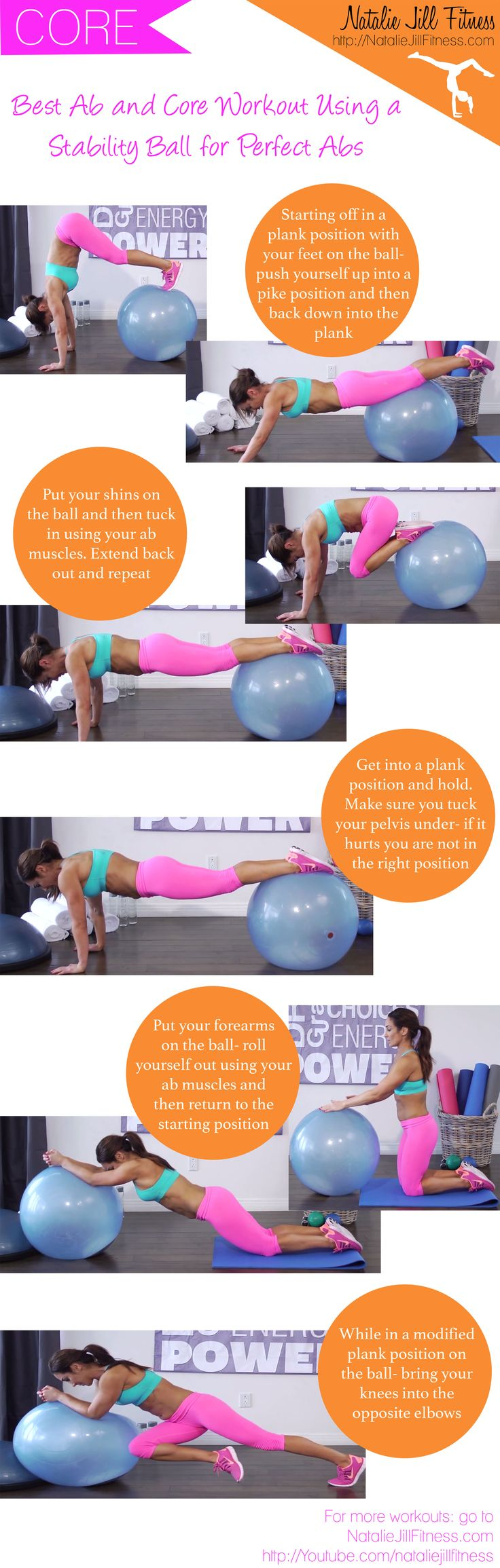 Best ab and core workout using a stability ball! Click on the image to view the whole workout :)