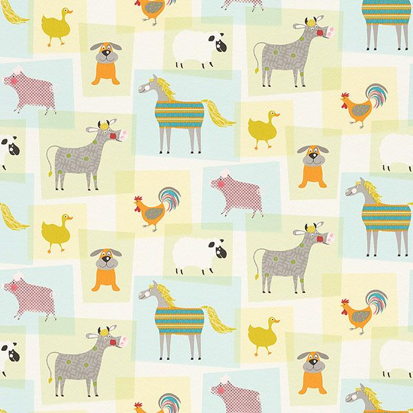 Farmyard motif children's wallpaper from the Bambino Collection by Galerie - 247015