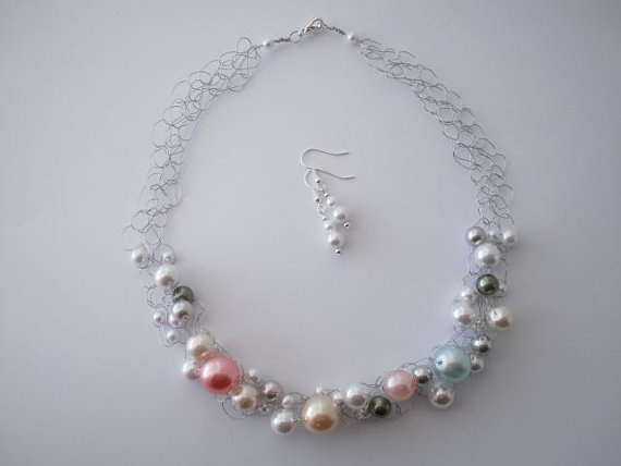 Multi-colored Pearl Necklace & Earrings by JoTheGreek on www.Etsy.com