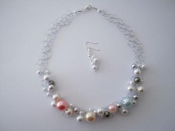 Multi-colored Pearl Necklace & Earrings by JoTheGreek on www.Etsy.com