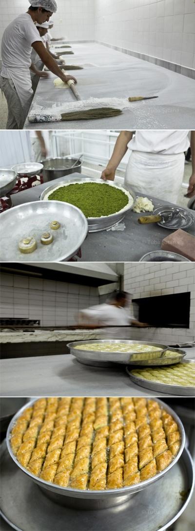 Making Antep pistachio (early harvest) baklava with kaymak (milk cream) at Güllüoglu Baklava shop in Gaziantep; photos © Tuba Şatana @istanbulfood