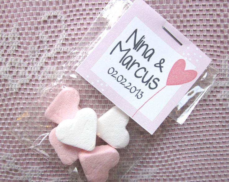 Gastgeschenk Herzchen mit personalisiertem Etikett
