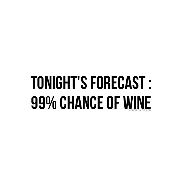 100% chance of wine for me!  Cheers!