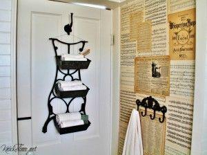 Antique sewing machine epurposed into farmhouse wall bins | Turn Old Junk into Fabulous Farmhouse Decor |via www.knickoftime.net