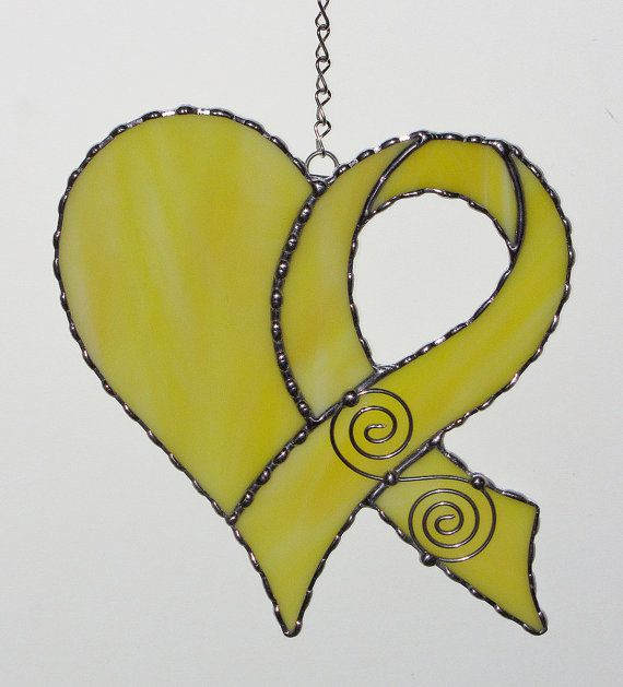 Stained Glass Suncatcher Awareness Ribbon with Heart by GLASSbits