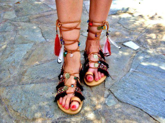 69e3d9d5d8d9c Native american sandals, feather sandals, festival sandals | Sandals ...
