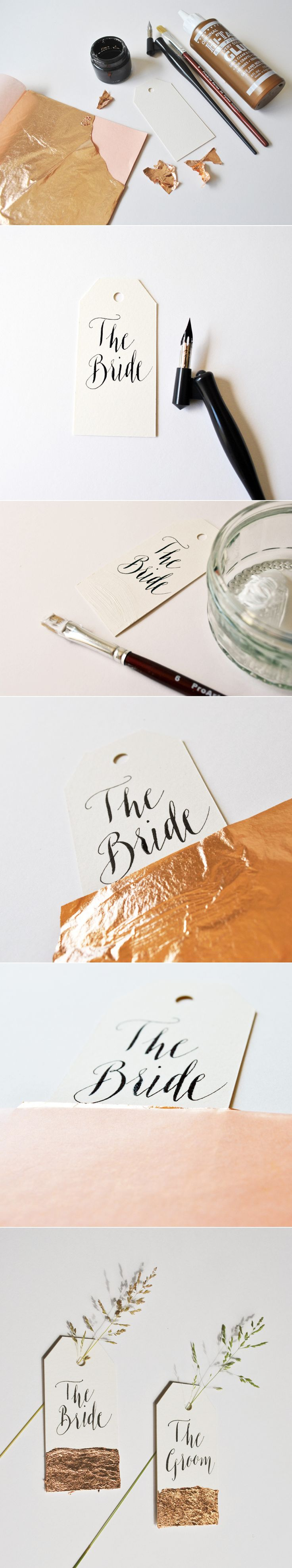 Copper Leaf Place Name Calligraphy Luggage Tag Tutorial DIY Lettering