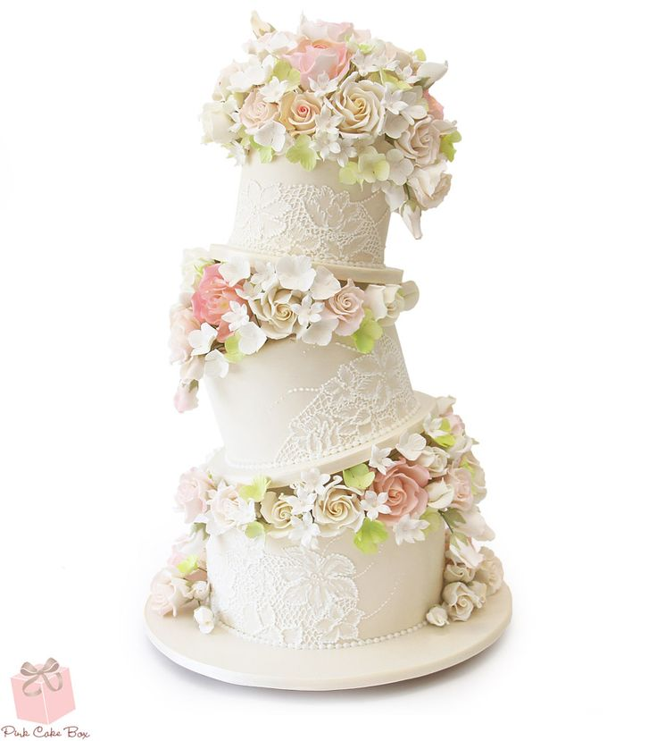 Topsy Turvy Floral Wedding Cake | http://blog.pinkcakebox.com/topsy-turvy-floral-wedding-cake-2015-05-08.htm