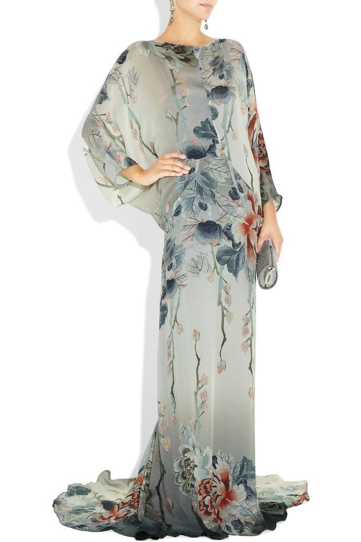 Roberto Cavalli Floral-print silk gown $2,945