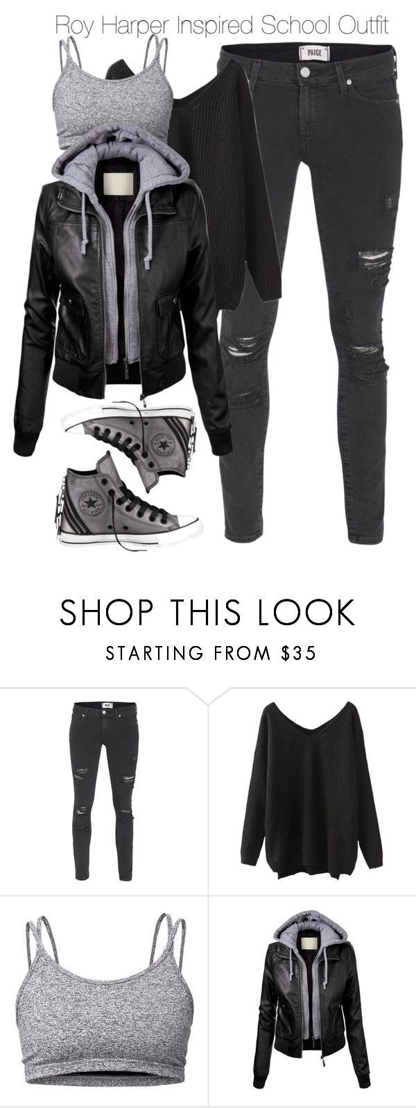 """Arrow - Roy Harper Inspired School Outfit"" by staystronng ❤️ liked on Polyvore featuring Paige Denim, Lija, Converse, school, Arrow and royharper"