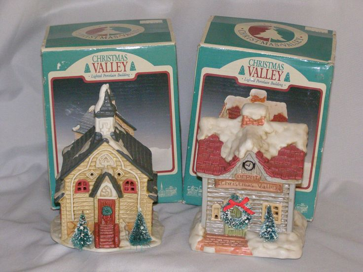 Vintage Christmas Valley Lighted Porcelain Buildings Church and Depot 1990 by parkie2 on Etsy